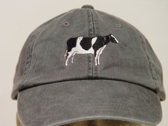 HOLSTEIN COW Farm Hat  One Embroidered Men Women by priceapparel