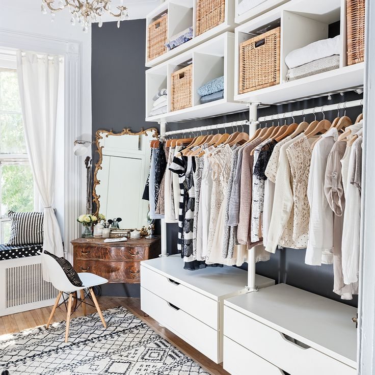 My styling of an amazing walk-in closet made with IKEA shelves