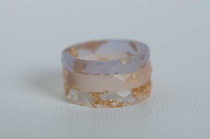 size 7 thin multifaceted eco resin ring clear with gold flakes #jewelry #etsy