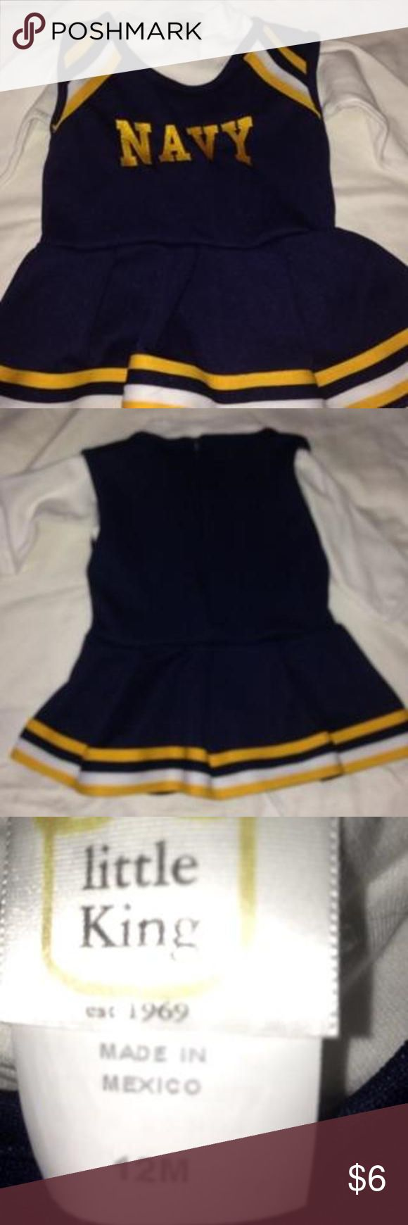 🏈Get Ready For Navy Football! Two-piece Navy cheerleader outfit size 12 months. Lightly used. White shirt is a long-sleeve mock turtleneck but is easily substituted by any white shirt. Official Navy gear. Dresses