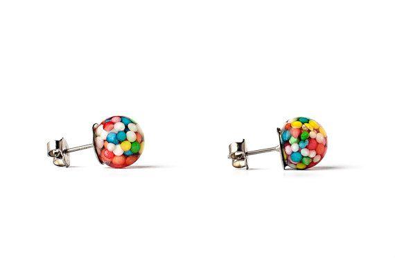 Sprinkles Stud Earrings by ArcticGlassStudios on Etsy