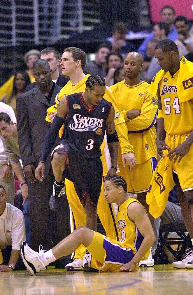 June 6, 2001 -  As a heavy underdog, the Philadelphia 76ers walked into the Staples Center with no chance of winning according to basketball experts.  However this theory was completely destroyed by league MVP, Allen Iverson, who went off for 48 points in the opening game. On highlight reels, this one is well-known for Iverson's battle with nemesis Tyronn Lue, including the moment in the right corner when Iverson shook Lue, nailed a jumper and then stepped over the fallen Laker.