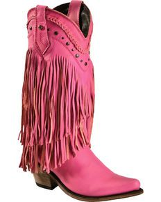 Liberty Black Vegas Fringe Boots - Pointed Toe, Pink