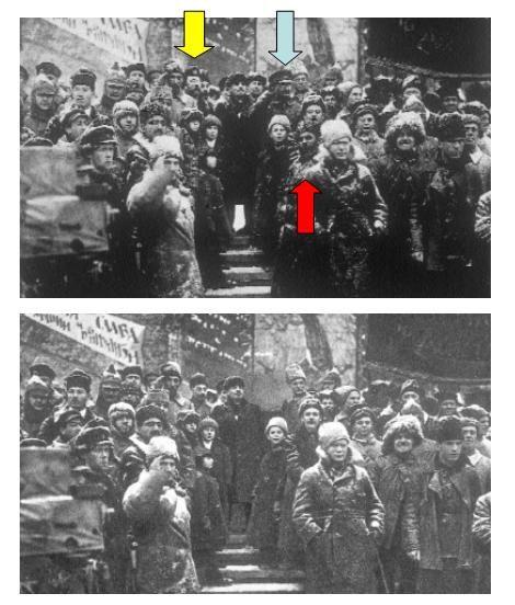 celebrazione del secondo anniversario della Rivoluzione d'Ottobre. Nel gruppo fotografato ci sono persone che in seguito diventarono sgradite al regime sovietico: Artases Chalatov, che fu a capo del Gosizdat, la casa editrice di stato (indicato dalla freccia rossa), Lev Trockij (freccia azzurra) e Lev Kamenev (freccia gialla).  http://bibliotopia.altervista.org/mah/2011-04-01-castiglioni.htm