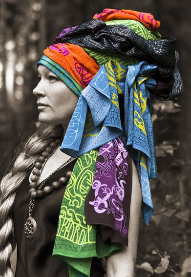 Scarves with runes and viking motifs.