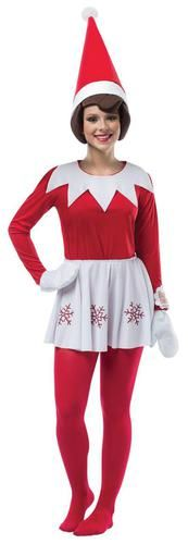 This costume includes a shirt, skirt hat and mittens. Does not include tights. This is an officially licensed Elf on the Shelf costume.