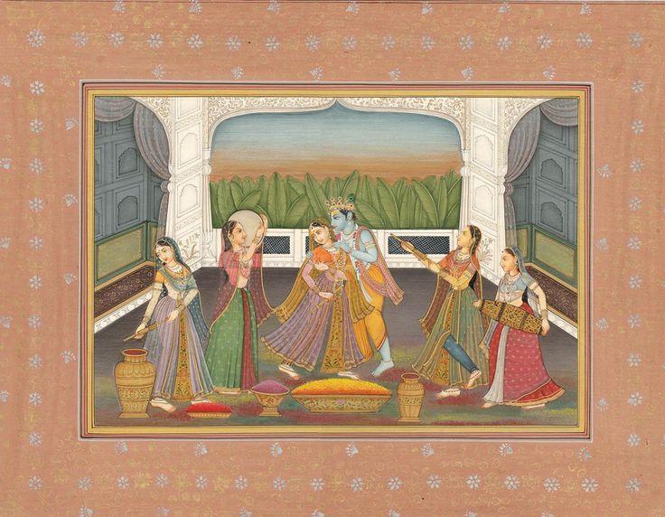 Hindu Cosmos - Krishna Playing Holi with Radha and Gopis  Artist:...