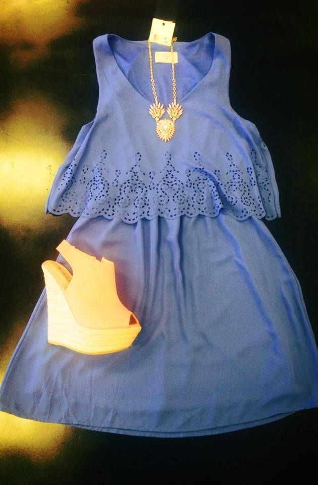 Cornflower blue dress, ruffles, flower necklace, wedges, spring