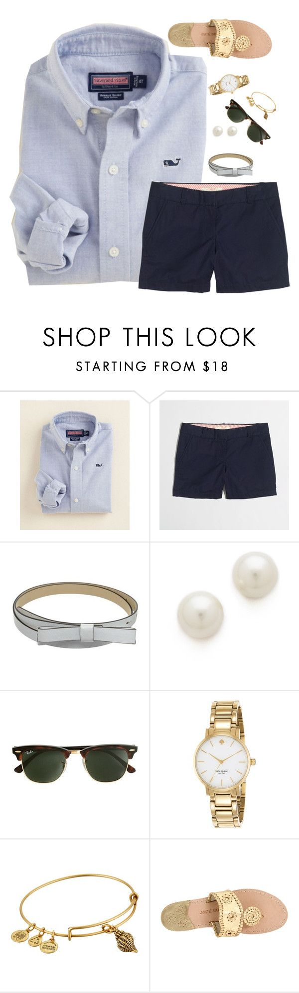 """""""new england vibes"""" by preppy-ginger-girl ❤ liked on Polyvore featuring Vineyard Vines, J.Crew, Kate Spade, Kenneth Jay Lane, Alex and Ani and Jack Rogers"""