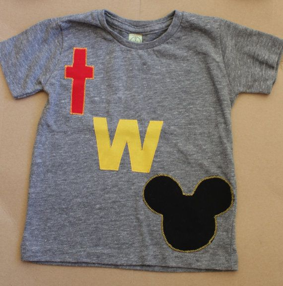 Disney Mickey Mouse theme second 2nd birthday party t-shirt: size 2T for boy or girl