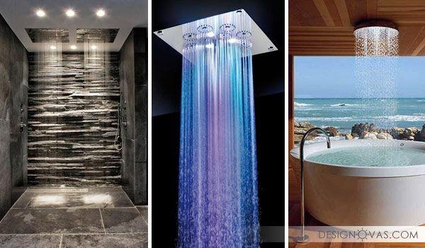 Душ в виде дождя или водопада. 27 идей для ванной вашей мечты    #ванная #душ Красота