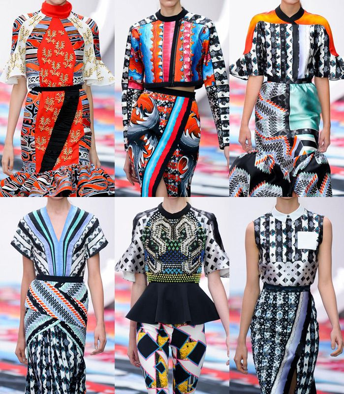 Peter Pilotto:- Collage mix and match statements – Twisted Baroque-style plays – Pattern clashes – Bold graphic geo prints – Modern take on folkloric motifs...
