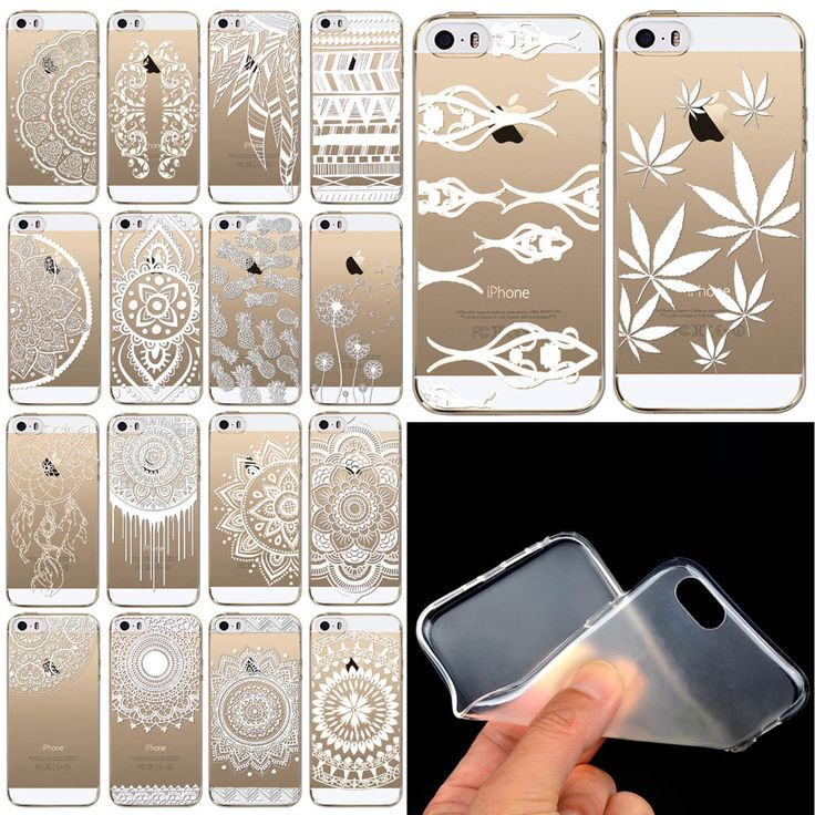 2015 Clear TPU Case Cover for Iphone 5 5s White Floral Paisley Mandala Henna Lotus Elephant Free Shipping iPhone Web Shop  