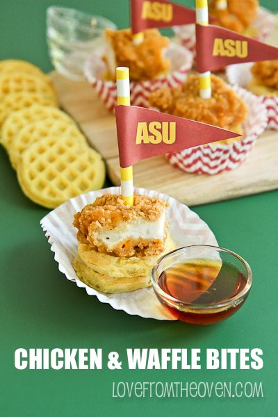 Game Day Chicken And Waffle Appetizers (hot syrup)