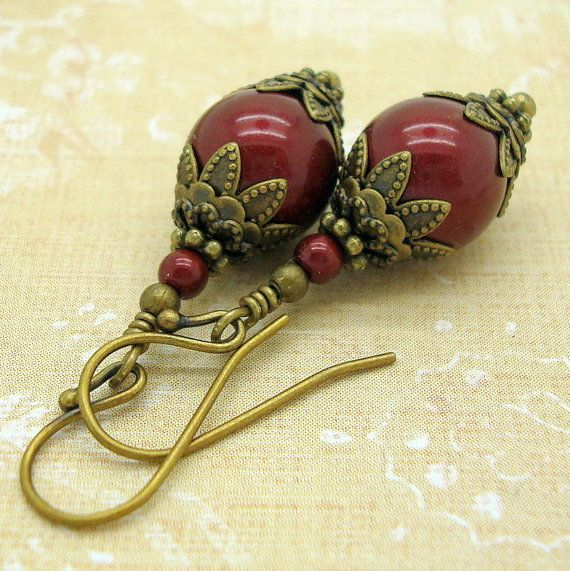 $22 These are victorian jewelry style earrings, handmade with 10mm wine red…