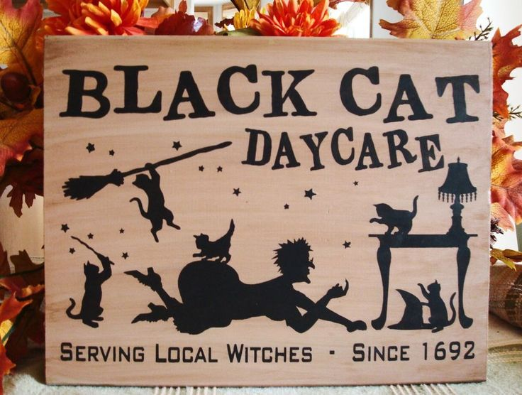 Black Cat Daycare CANVAS Sign Halloween Witch Cats Brooms Stars  Prim Decor  #Handmade #RusticPrimitive