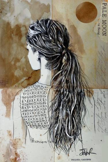 "Saatchi Art Artist Loui Jover; Drawing, ""pale moon"" #art"