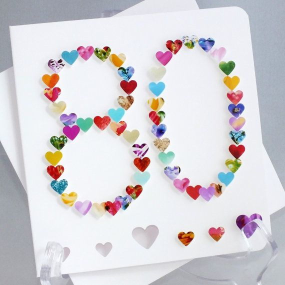 Handmade 3D '80' Card  80th Birthday Eighty by CardsbyGaynor, £3.95