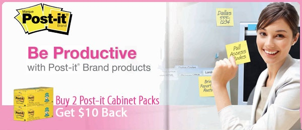 Get $10 back when you purchase 2 #Post-it Cabinet packs. Offer valid until May 31, 2013.
