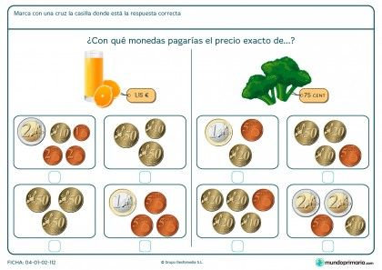 Ficha de elegir el precio exacto del zumo para primaria