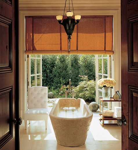 Splish, splash. Now this is a bath.Bathroom Design, Modern Bathroom, French Doors, Bathtubs, Dreams Bathroom, Gardens, Master Bath, Bathroom Interiors Design, Spa Bathroom
