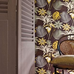 papier peint palma brun d'heytens