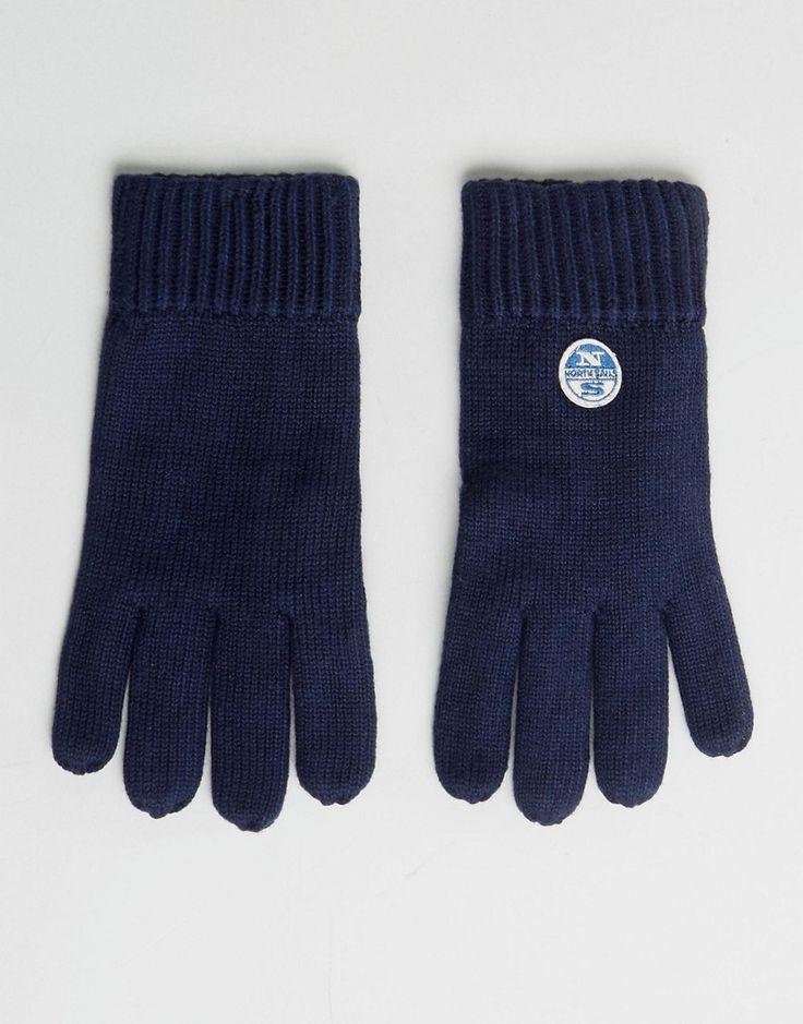 North Sails Merino Logo Gloves in Navy - Navy
