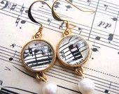 Symphony Earrings - Vintage Music Jewelry - Music Lovers Gift - Sheet Music Earrings
