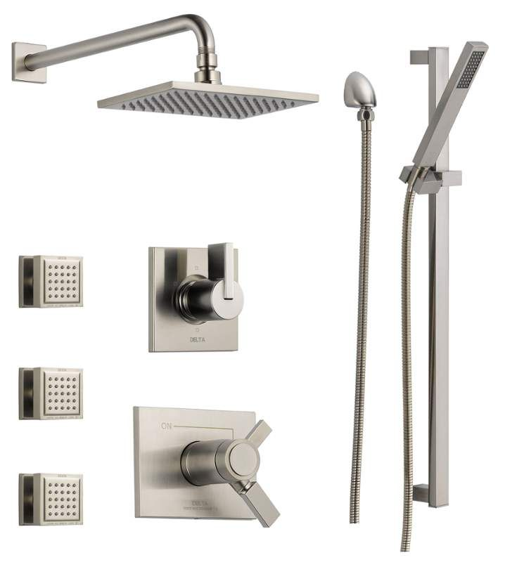 View the Delta DSS-Vero-17T03 TempAssure 17T Series Thermostatic Shower System with Integrated Volume Control, Shower Head, 3 Body Sprays and Hand Shower - Includes Rough-In Valves at Faucet.com.
