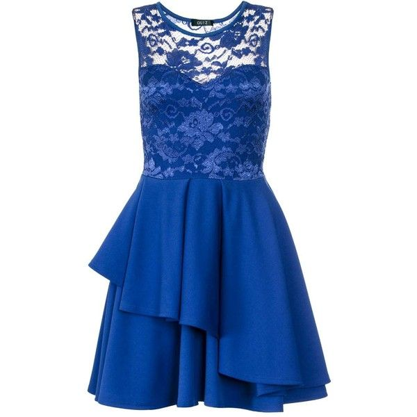 Dorothy Perkins **Quiz Royal Blue Skater Dress (6030 RSD) ❤ liked on Polyvore featuring dresses, vestidos, blue, lacy dress, royal blue skater dress, dorothy perkins, lace dress and electric blue lace dress