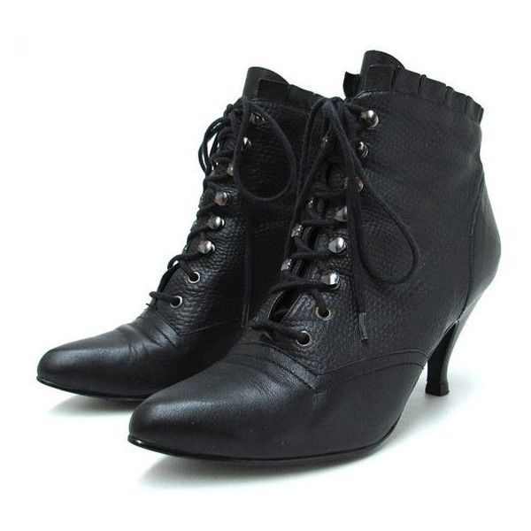 Vintage 1980s Witchy Black Leather Victorian Boots 80s Lace Up Ruffled... ❤ liked on Polyvore featuring shoes, boots, black boots, granny boots, victorian granny boots, black goth boots and lace up boots