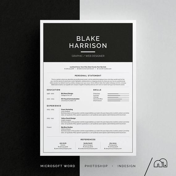 Cover Letter Template Indesign Blake Resume Cv Word Photoshop