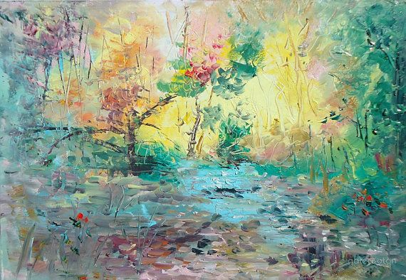 Abstract Nature Painting Nature Art By Naci Caba Landscape Etsy In 2020 Nature Paintings Landscape Paintings Oil Painting Abstract