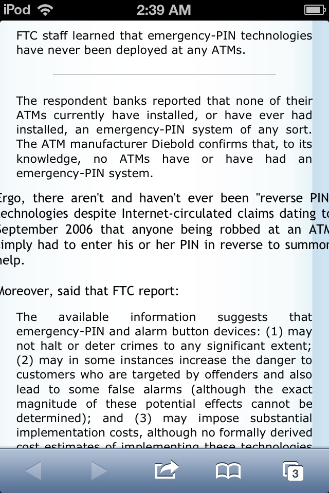 Reverse atm pin for safety is false!  http://www.snopes.com/business/bank/pinalert.asp