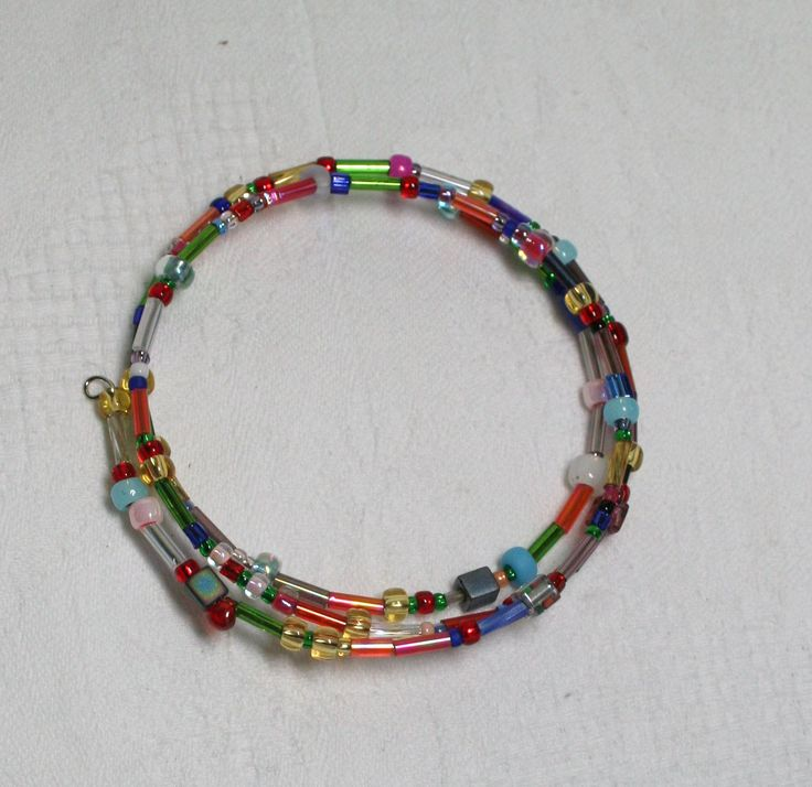 Multi coloured and beaded memory wire bracelet  www.facebook.com/Supposejewellery