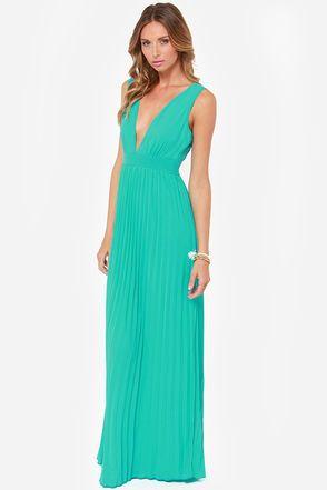 Aqua Pleated Maxi Dress
