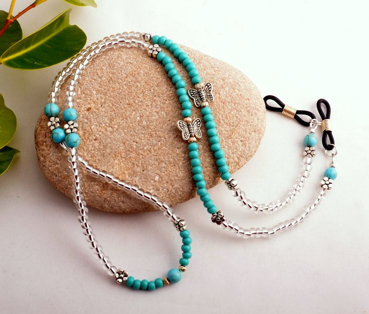 Beaded Eyeglass Chain Glasses Holder Turquoise and by SoCalStudio