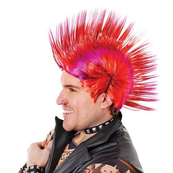 Punker hanekam pruik rood met paars. Fel gekleurde mega hanekam pruik in de kleuren rood met paars. Deze pruik is geschikt voor volwassenen.
