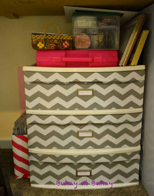 Sterilite drawers covered with contact paper from Target, WHAT?!?!?!  Life & home at 2102: Craft Room Reveal