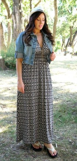 panama hat + print maxi dress + long beads + crop denim jacket + flip flops | Lose the hat and I think this look is a winner.