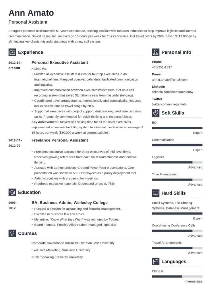personal assistant resume example template vibes  project