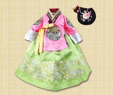 1st Birthday Girl Pink and Green Hanbok