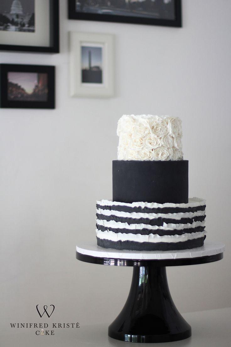 Monochrome rosettes, fashion inspired cake.