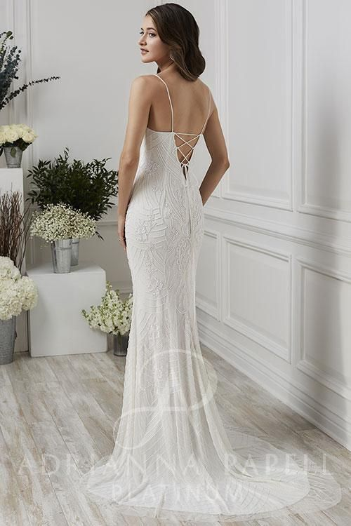 5b81dd05 Adrianna Papell Platinum 40187 - Show Off Your Back In This Strappy  Form-Fitting Gown
