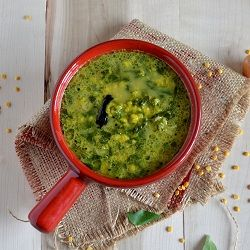 Spinach cooked with lentils...comforting curry to go with rice...