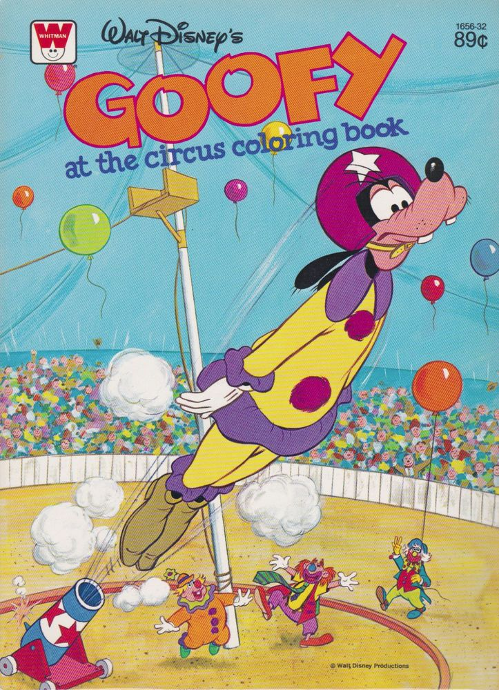 Vintage Disney Coloring Book GOOFY AT THE CIRCUS 1979 Mint Unused