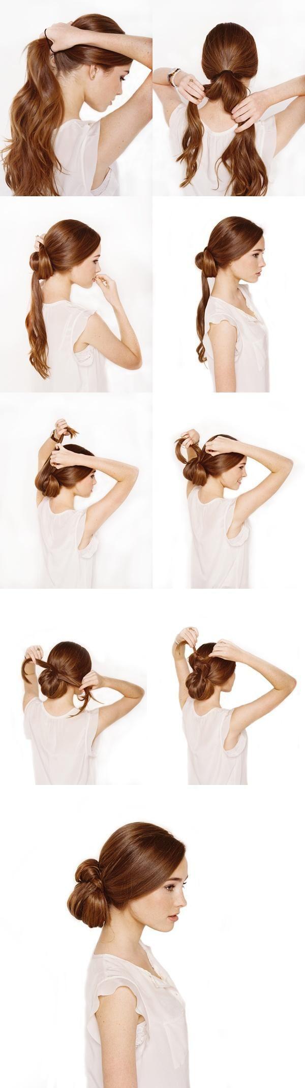 Idée pour se coiffer un joli tuto coiffure chignon nœud pour les cheveux longs et mi longs, réaliser cette belle coiffure en photo une coiffure de mariage.