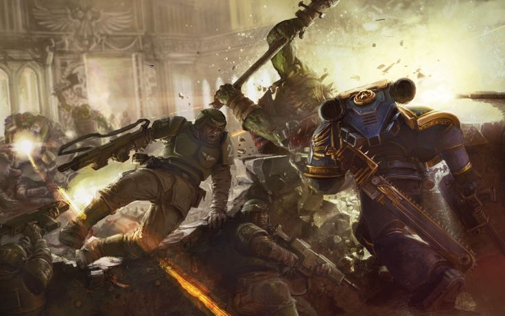 architecture axe battle bolter chainsword imperial_guard imperium lasgun orks space_marines ultra-vs-orks ultramarines unstandard