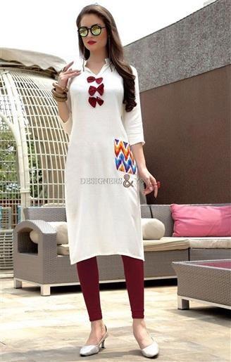 image of Friendly Snow White Stitched Simple Kurta Design For Denim Pant