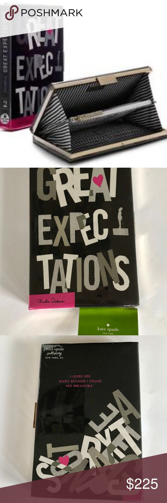 """Kate Spade Great Expectations Clutch Purse Book Kate Spade Book of the Month Club  Great Expectations Clutch Purse  With Green Kate Spade Card Measurements:  6"""" x  9"""" x 1.5"""".  Black & White striped interior. 2 sides with a divider. One side has credit card pockets - 4 on each side. Middle divider is a zippered pocket. Green Kate Spade card is still in the middle pocket. No box or dust bag Interior is pristine , Tiny white scuff on the front - about .8"""" of a inch Gold metal band around…"""